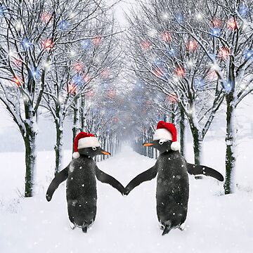 Two Christmas Penguins walking down a snowy road by ArdeaOnline