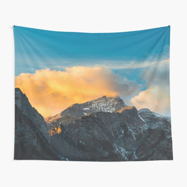 Last light on mountains before sunset Tapestry