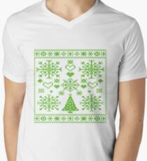 Christmas Cross Stitch Embroidery Sampler Green And White T-Shirt