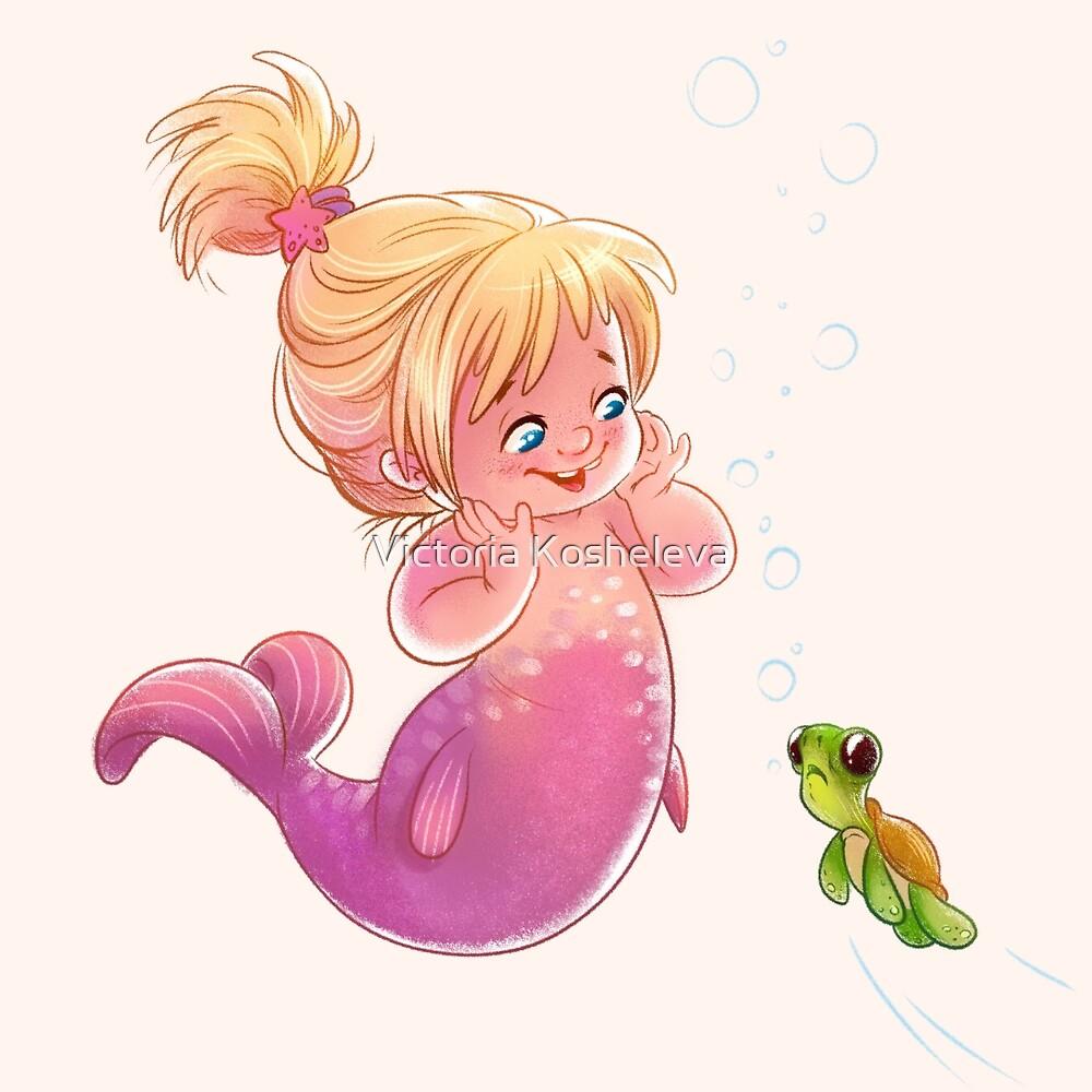 The cute baby girl mermaid with turtle. by Victoria Kosheleva