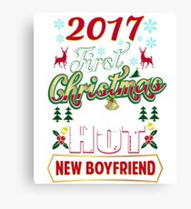 First Christmas With Hot New Boyfriend Shirt Matching Couple Canvas Print