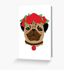 Funny Pug with rose flower wreath. Fashion vector illustration concept. Animal symbol of 2018 year. Greeting Card