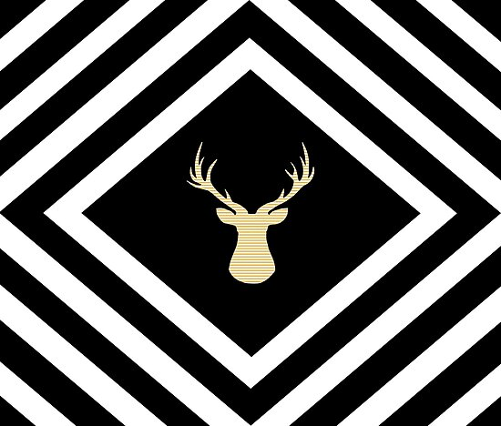 Abstract geometric pattern - Deer - black, beige and white. by kerens