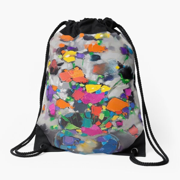 Floral Spectrum 1 Drawstring Bag