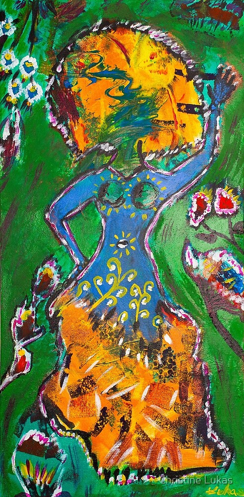 The goddess is dancing in the spring by Christine Lukas