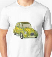 Classic Citroën Deux Chevaux 2CV Loose Sketch - Yellow Unisex T-Shirt