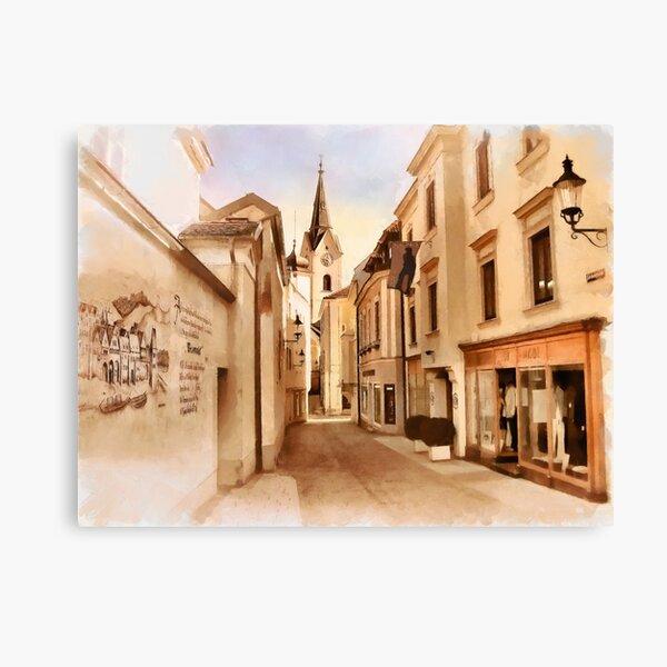 Kirchengasse in Ybbs mit Loeb Geschaeft Canvas Print