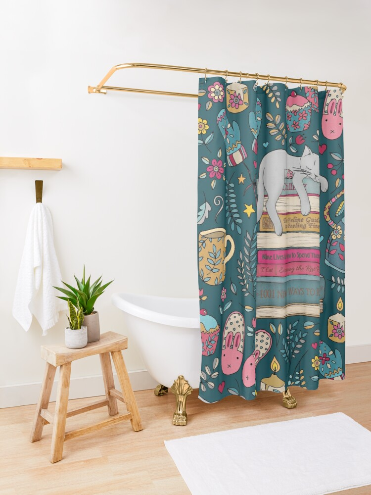 Alternate view of How to Hygge Like a Cat Shower Curtain