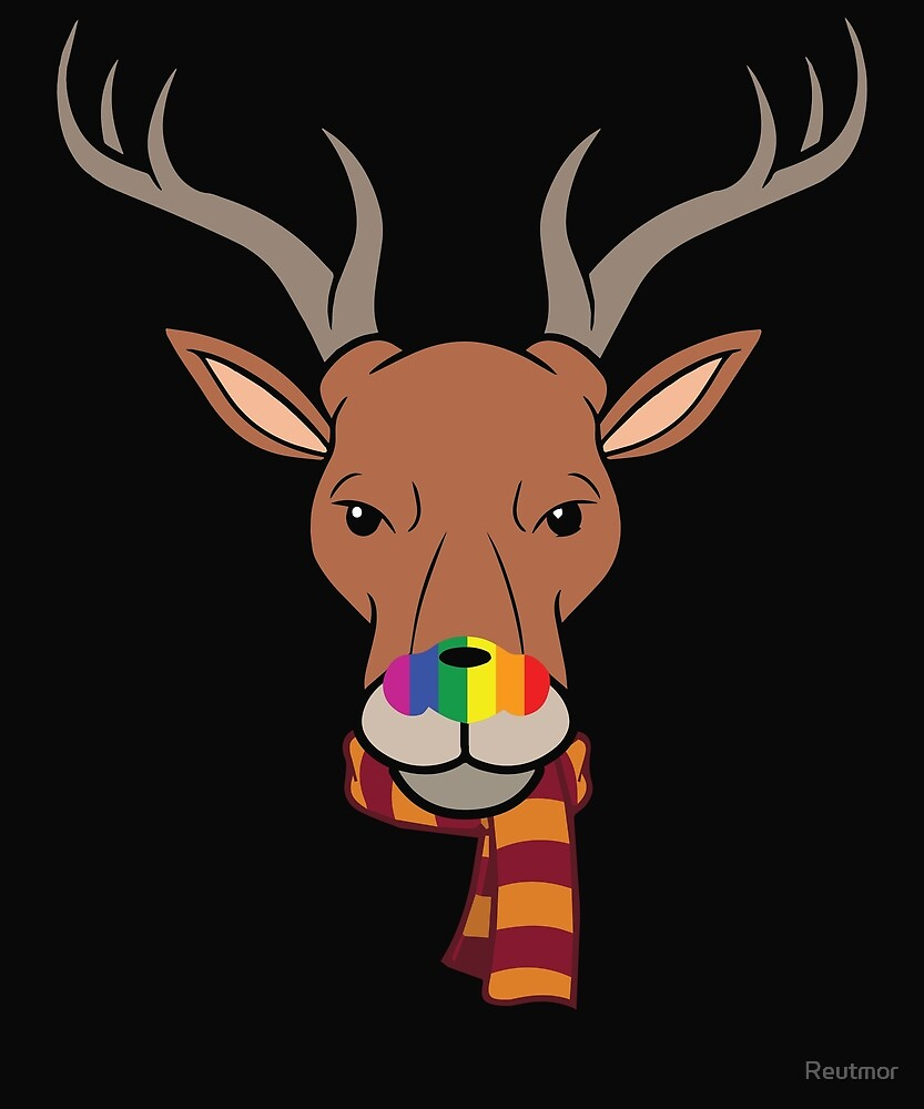Rudolph Rainbow Nosed Reindeer With Scarf by Reutmor