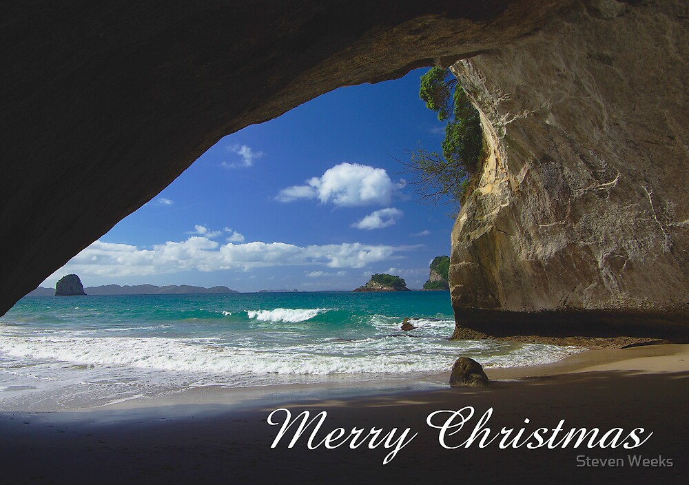 Cathedral Cove, Merry Christmas by Steven Weeks