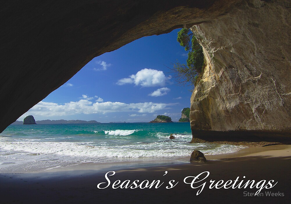 Cathedral Cove, Season's Greetings by Steven Weeks