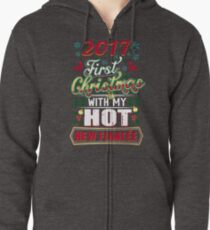 First Christmas With Hot New Fiancee Engaged Couple Zipped Hoodie