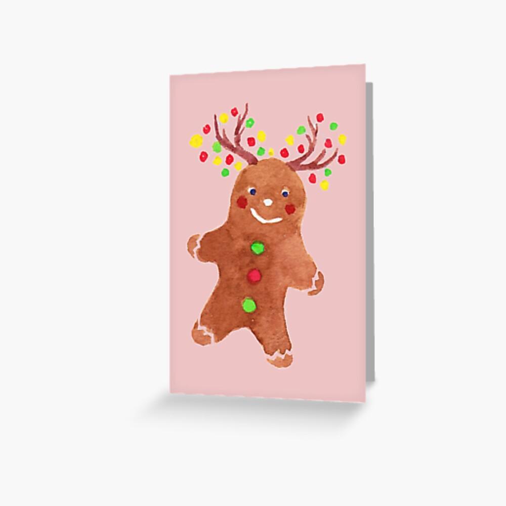 Gingerbread Reindeer  Greeting Card