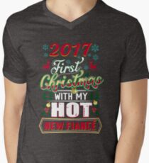 First Christmas With Hot New Fiance Engaged Couple Men's V-Neck T-Shirt