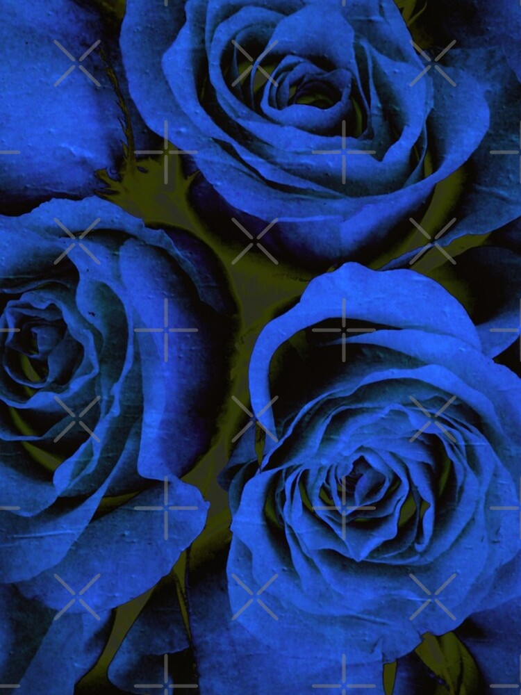 Mothers Day Gift - In Blue - Gothic Blue and Black Roses Gift by OneDayArt