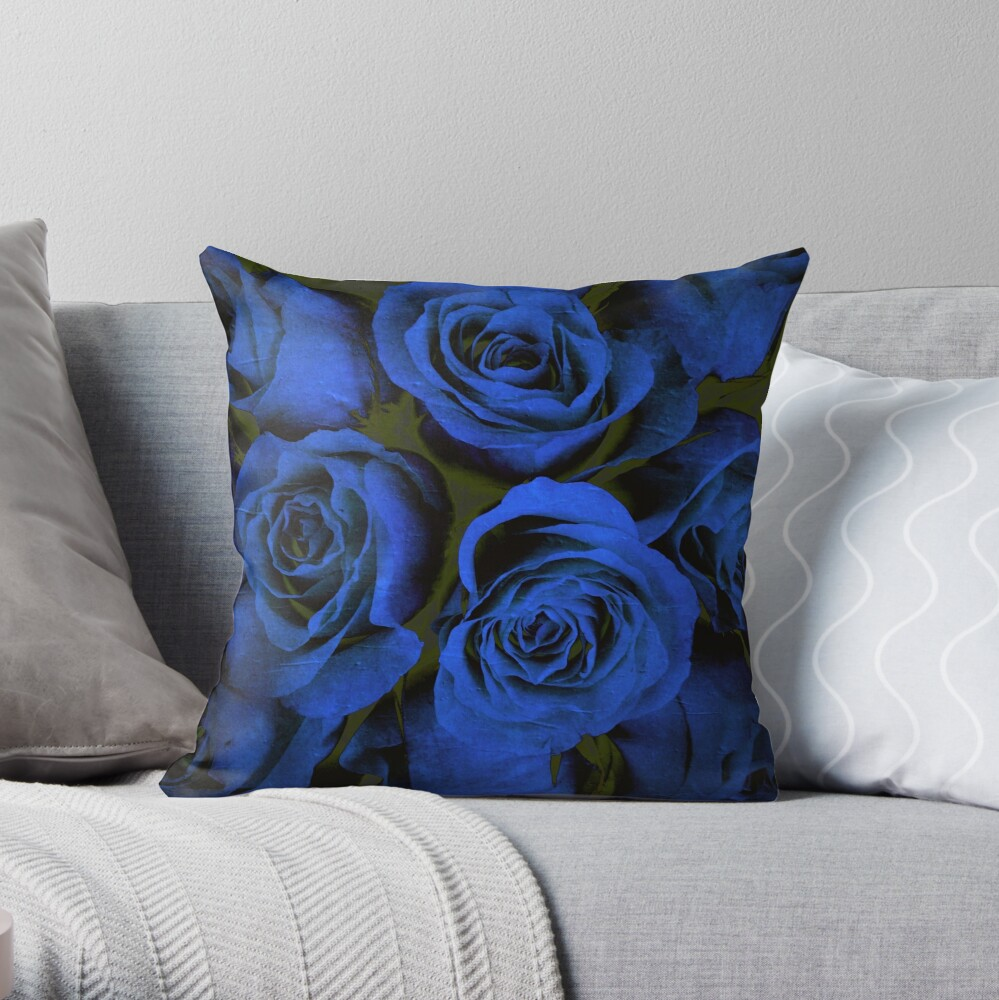 Mothers Day Gift - In Blue - Gothic Blue and Block Roses Gift Throw Pillow