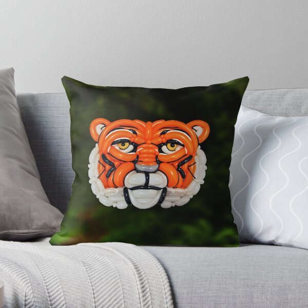 Twisted Indochinese Tiger Throw Pillow