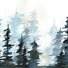 blue watercolour trees by gloomybm