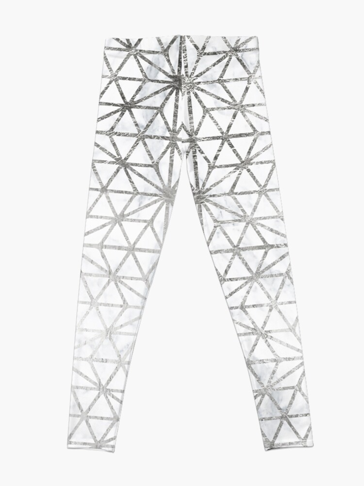 Alternate view of Modern silver stars geometric pattern Christmas white marble Leggings