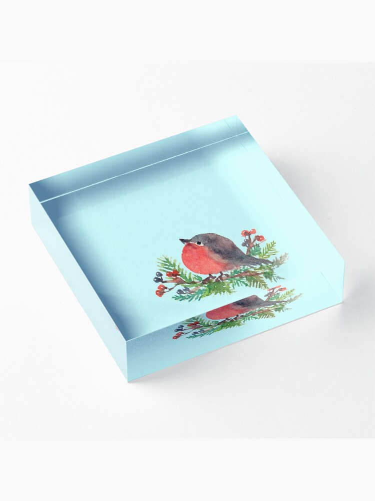 Alternate view of Robin on a winterberry tree Acrylic Block