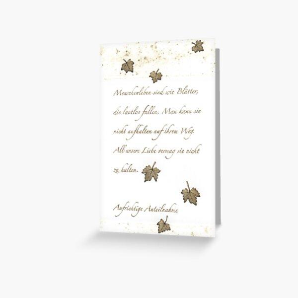 Trauerkarte Wie Blätter Grußkarte