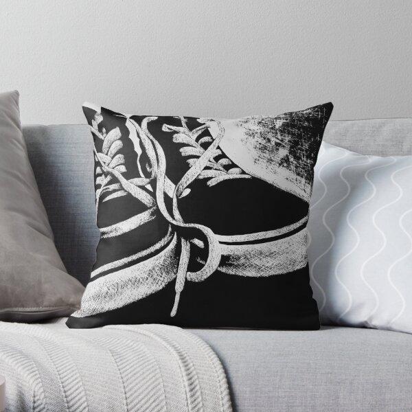 Scratchboard Hightop Shoes Throw Pillow