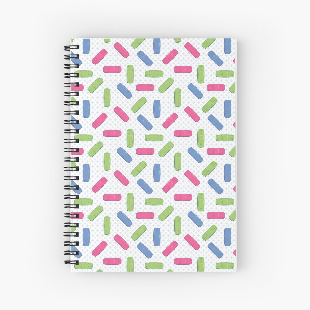Pink, green and blue bandages Spiral Notebook