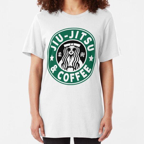 JIU JITSU AND COFFEE - FUNNY BRAZILIAN JIU JITSU Slim Fit T-Shirt
