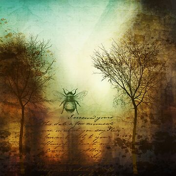 Bare Trees Landscape With Bee by Zehda