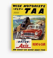 Australia Air Travel Restored Vintage Poster Canvas Print