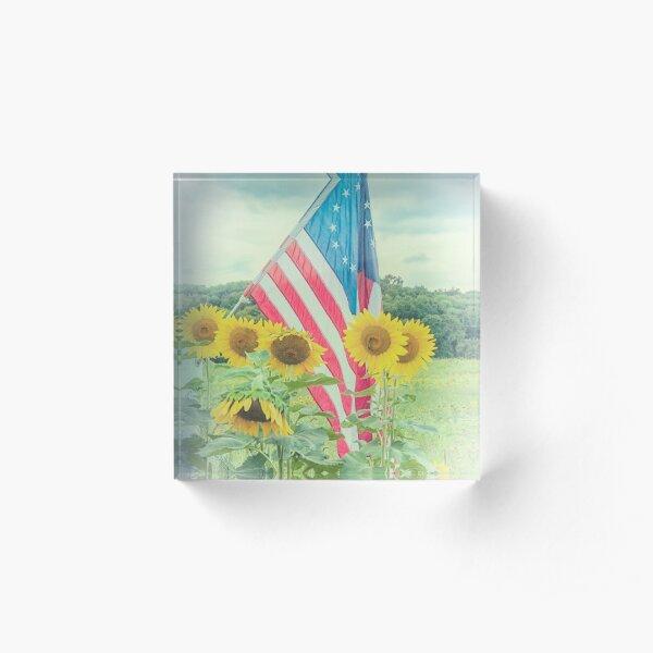 Sunflowers and American Flag Acrylic Block