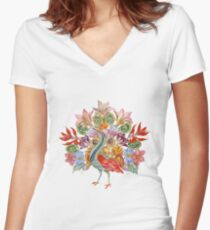 Botanical Watercolor Peacock  Women's Fitted V-Neck T-Shirt