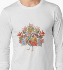 Botanical Watercolor Peacock  Long Sleeve T-Shirt