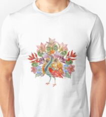 Botanical Watercolor Peacock  Unisex T-Shirt