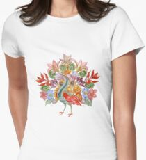 Botanical Watercolor Peacock  Fitted T-Shirt