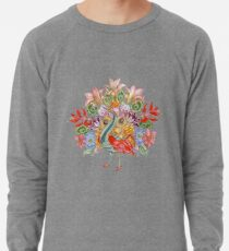 Botanical Watercolor Peacock  Lightweight Sweatshirt