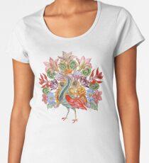 Botanical Watercolor Peacock  Women's Premium T-Shirt