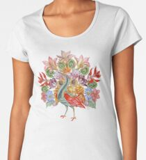 Botanical Watercolor Peacock  Premium Scoop T-Shirt
