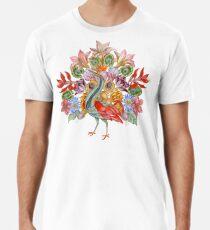 Botanical Watercolor Peacock  Premium T-Shirt