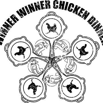 CHICKEN DINNER MANDALA- black by em-s