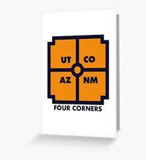 Four Corners - Blue and Orange Greeting Card