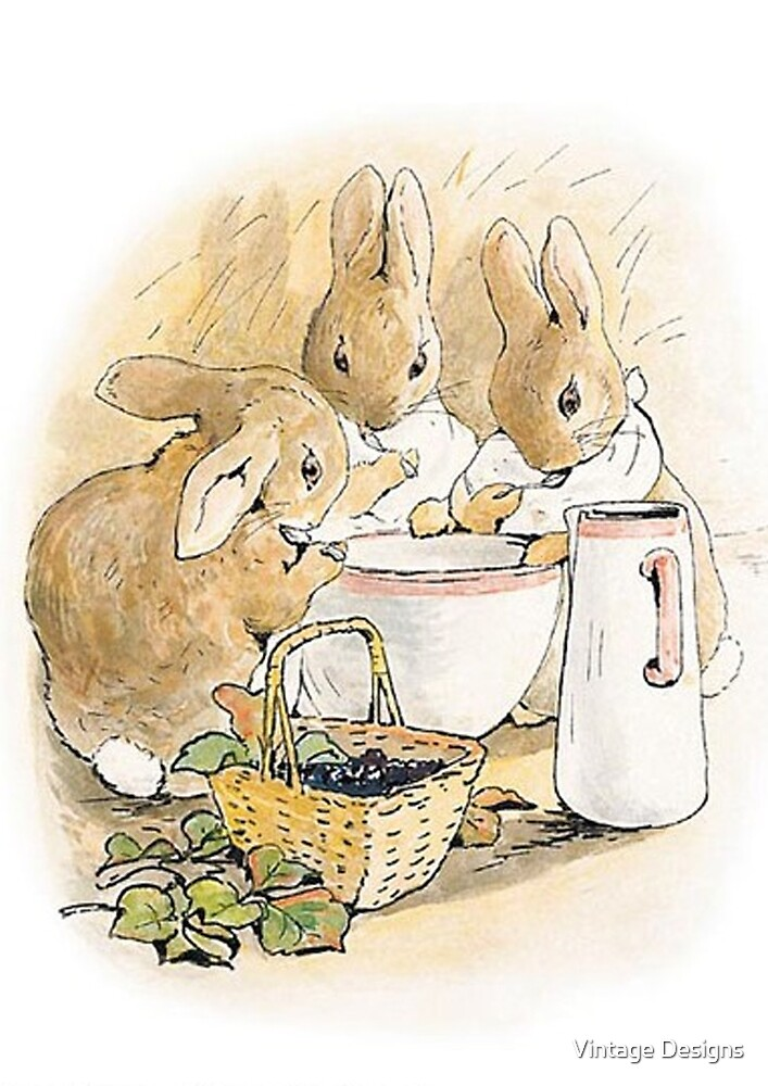 The rabbit family having tea by Beatrix Potter by Vintage Designs