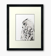 White owl print, polar bird Scandinavian art Framed Print