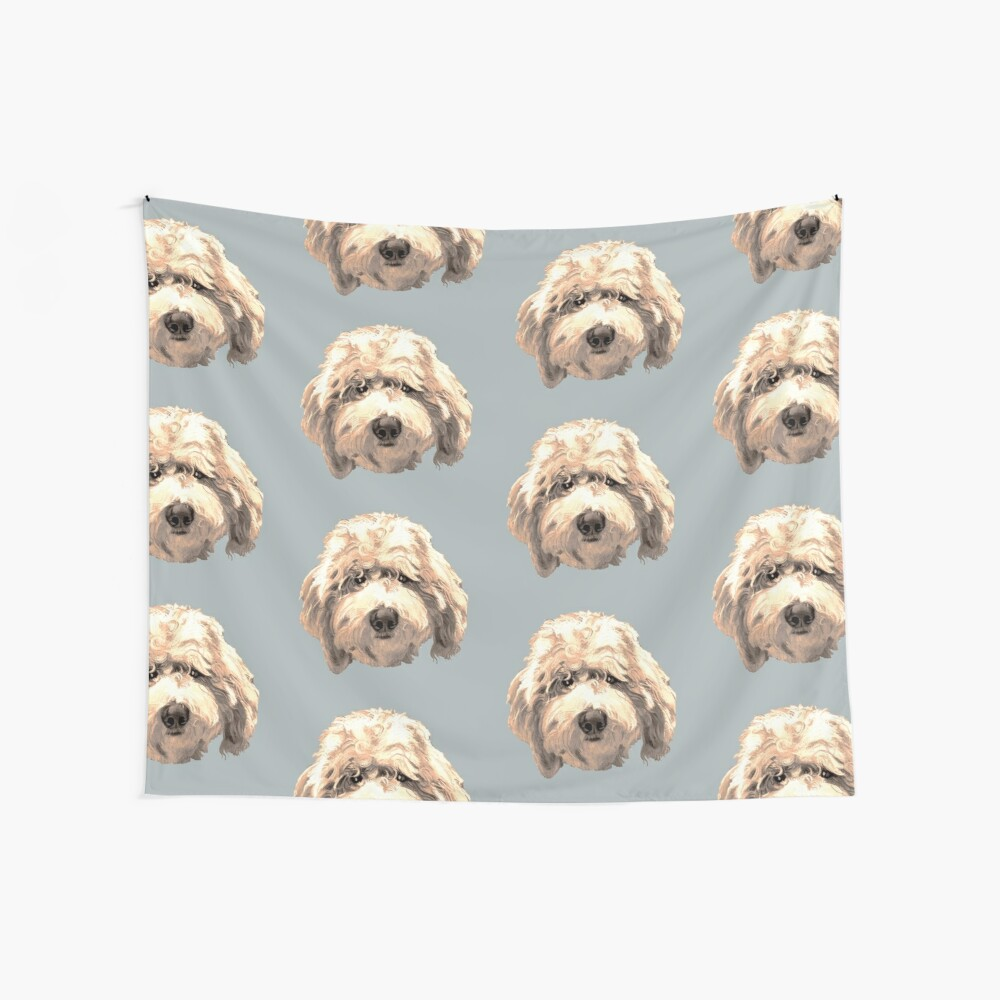 Lucky Labradoodle Face ~ Golden Wall Tapestry