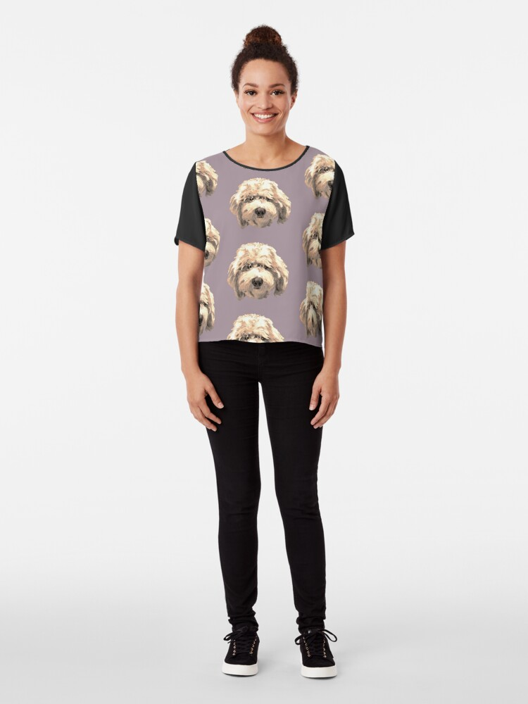 Alternate view of Lucky Labradoodle Face ~ Golden Chiffon Top