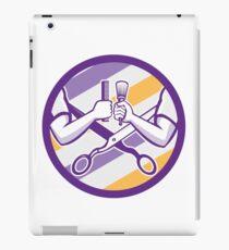 Barber Hand Comb Brush Scissors Circle Retro iPad Case/Skin