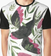 Swallow with Flowers Graphic T-Shirt
