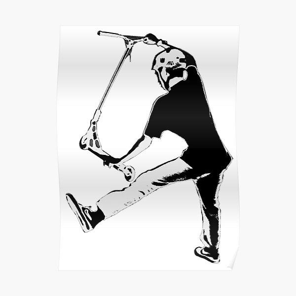 Garçon de scooter volant haut - scooter de cascadeur Poster