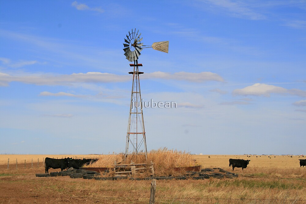Windmill and cattle by jujubean