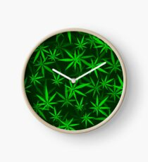 Green Cannabis Leaves Seamless Background. Marijuana Pattern Clock